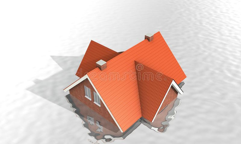 House under water royalty free illustration