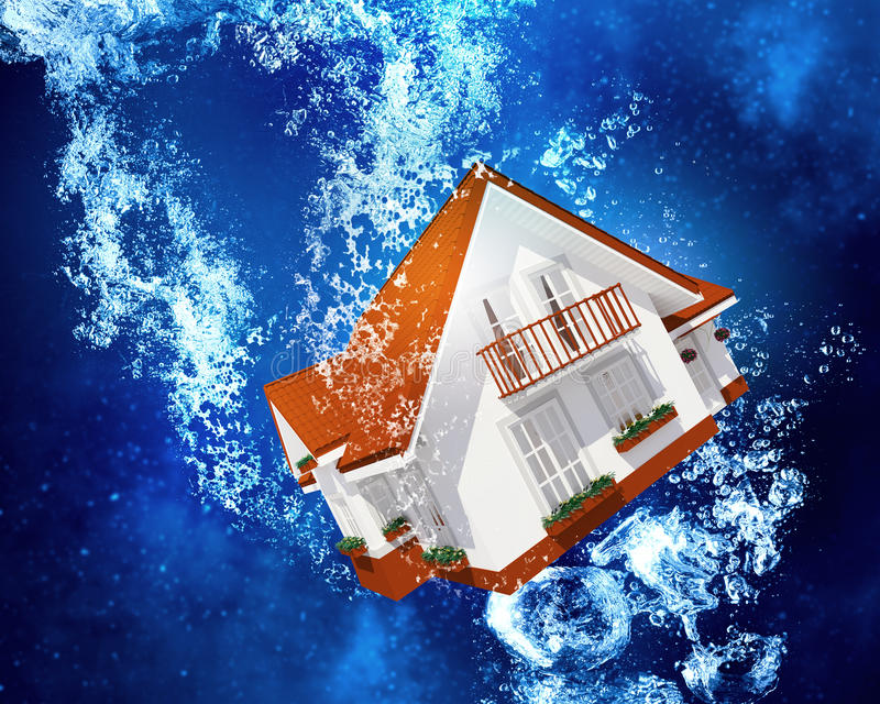 House under water. House model sinking in clear blue water stock illustration
