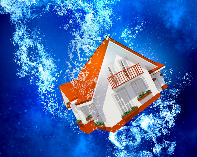House under water. House model sinking in clear blue water vector illustration