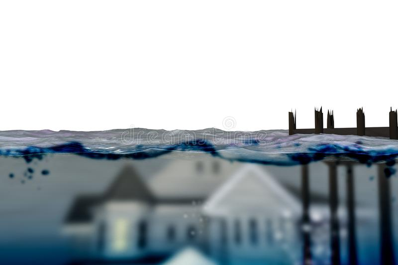House underwater vector illustration