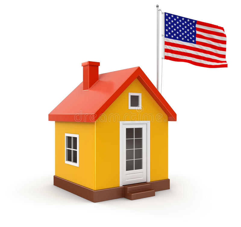 House And US Flag (clipping Path Included) Stock Images