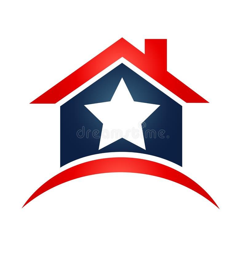 House USA flag logo stock illustration