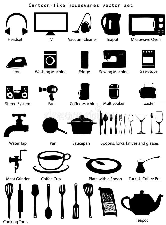 House Utensils Vector Set royalty free illustration