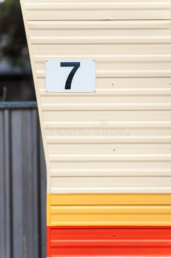 House / van / cabin number close up on the side wall royalty free stock photos