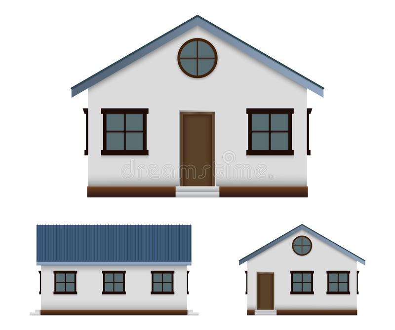 House vector image set in three point of view stock illustration
