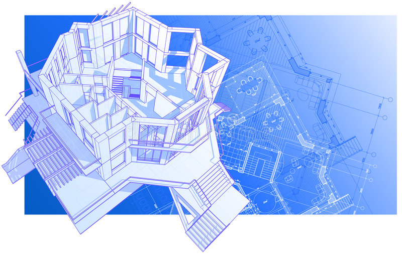 House: vector technical draw royalty free stock photos