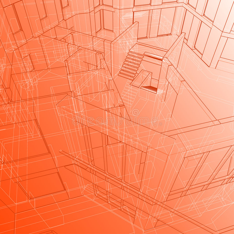 House: vector technical draw stock image