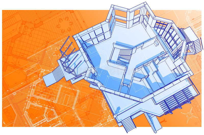 House: vector technical draw stock images