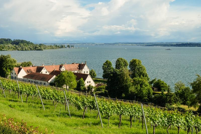 A house with a view of the lake constance royalty free stock images