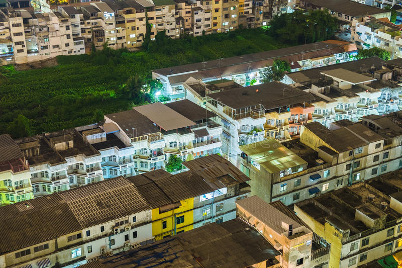 House village crowded light neon in capital. At night royalty free stock photography