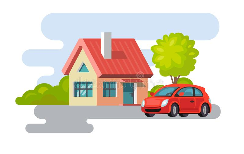 House village property building with car. Vector flat style vector illustration