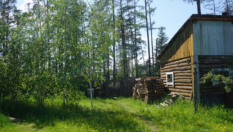 House in a village stock photos