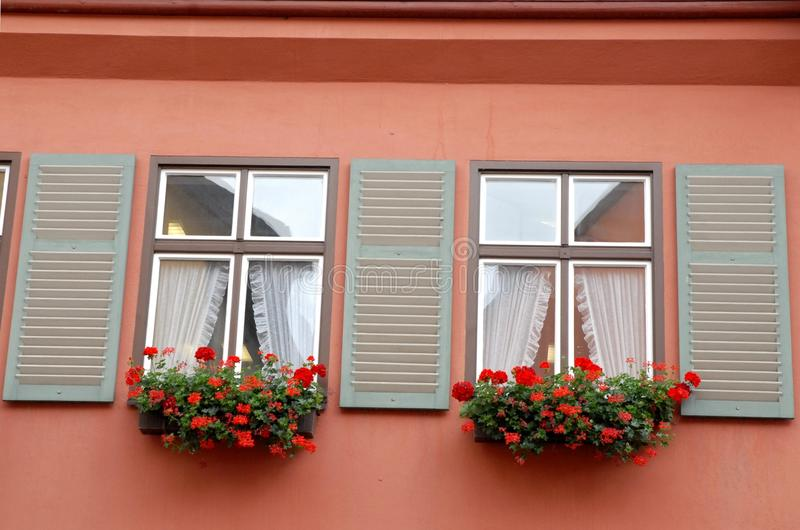 House from the wall with two windows pink flowers and curtains in the small town of Dinkelsbuhl in Germany royalty free stock image