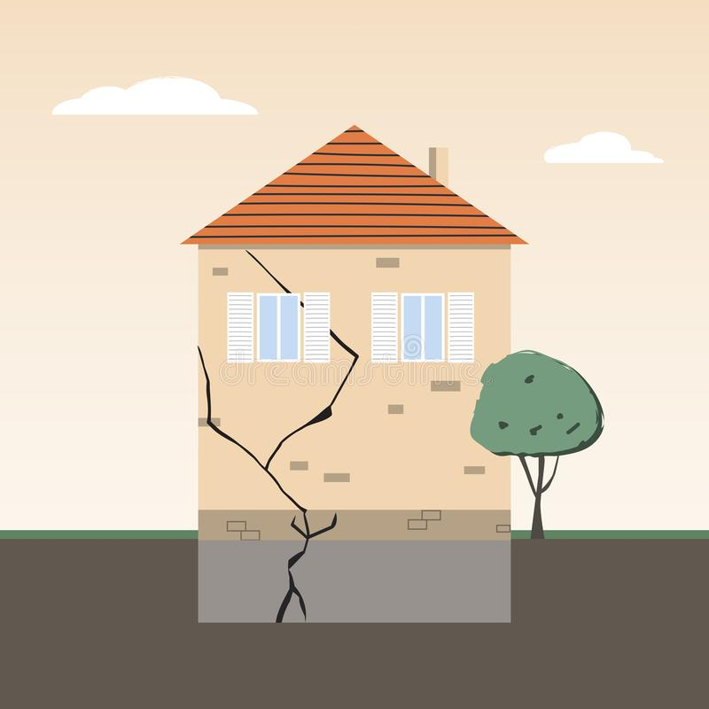 Free House Wall With Crack In Foundation Royalty Free Stock Image - 165642196