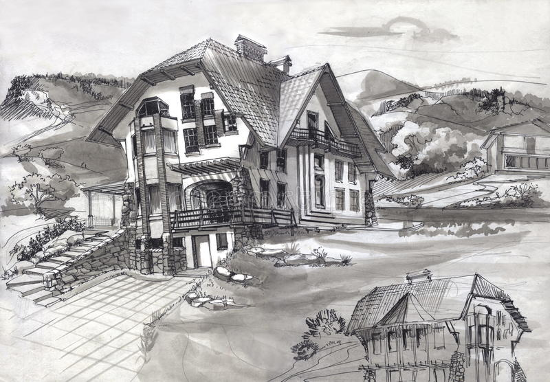 The house was built in the mountains stock illustration