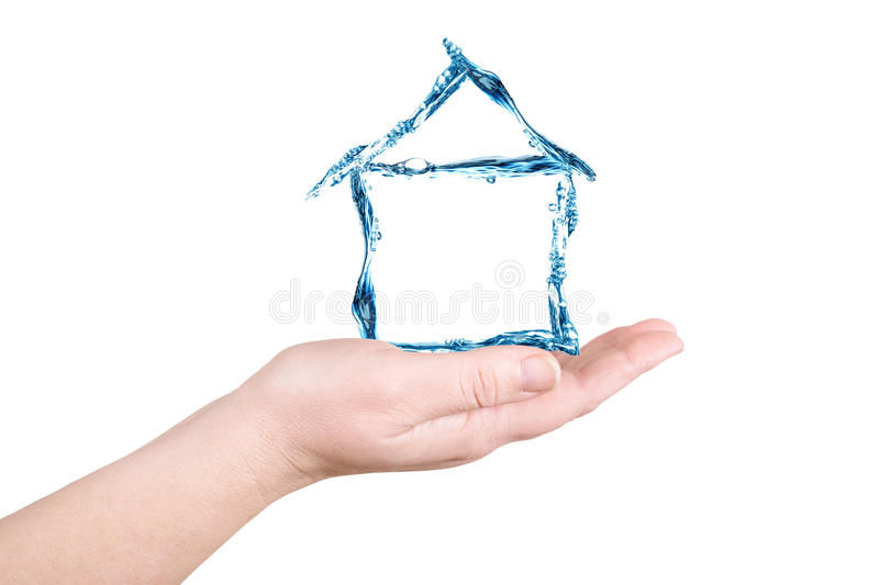 Download The House And Water On A Palm. Water Figures Stock Photo - Image: 29070756