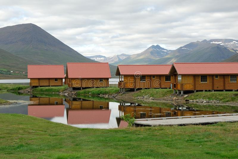 House on waterside in Olafsfjordur, Iceland stock image