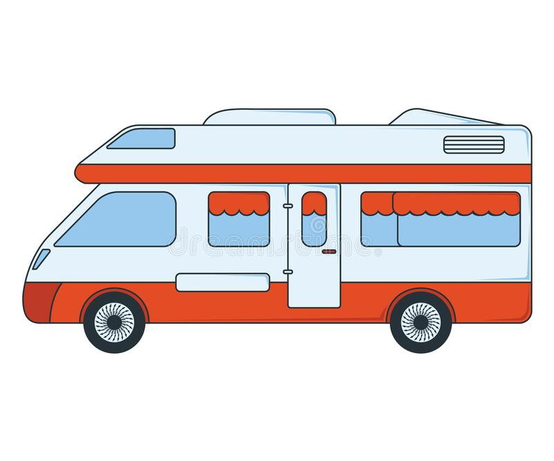 House on wheels Icon. Concept for Outdoor and Hike Trip. Cartoon Style. Travel Symbol, Logo, Icon and Badge. Simple Vector vector illustration