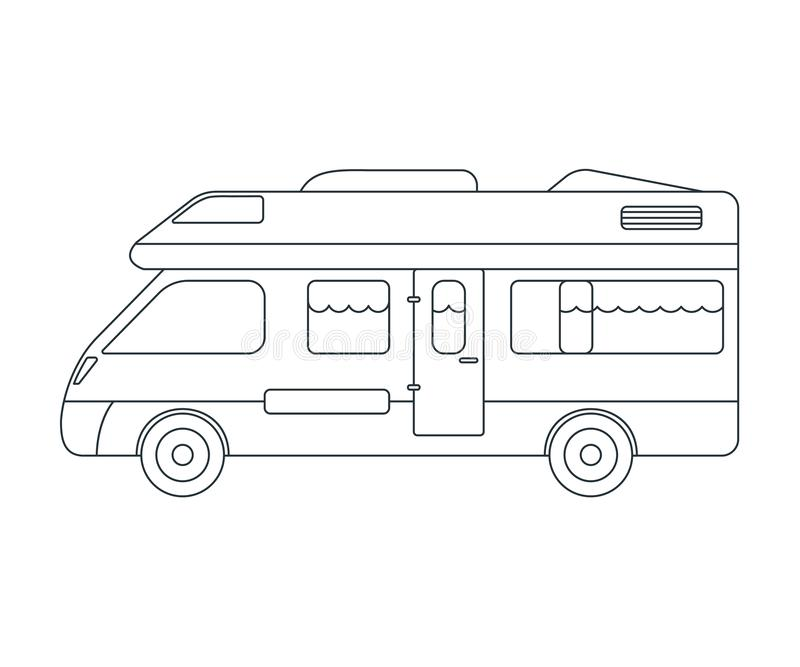 House on wheels Icon. Concept for Outdoor and Hike Trip. Outline Style. Travel Symbol, Logo, Icon and Badge. Simple Vector. Illustration royalty free illustration