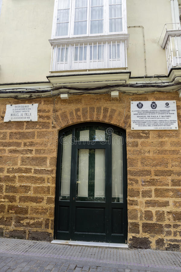 House where born the Spanish composer Manuel de Falla on 23 November 1876, registration indicates in marble indicates stock photo