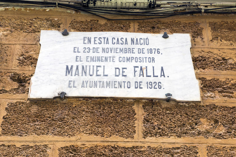 House where born the Spanish composer Manuel de Falla on 23 November 1876, registration indicates in marble indicates stock photography