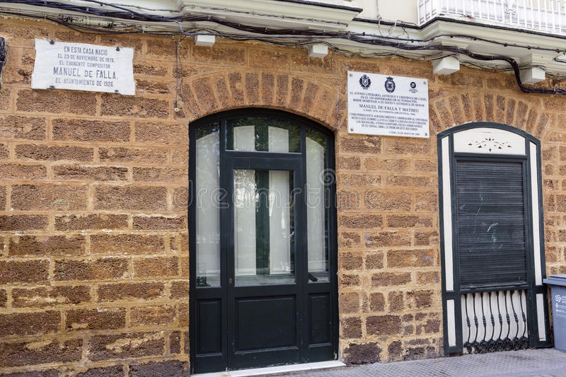 House where born the Spanish composer Manuel de Falla on 23 November 1876, registration indicates in marble indicates stock image