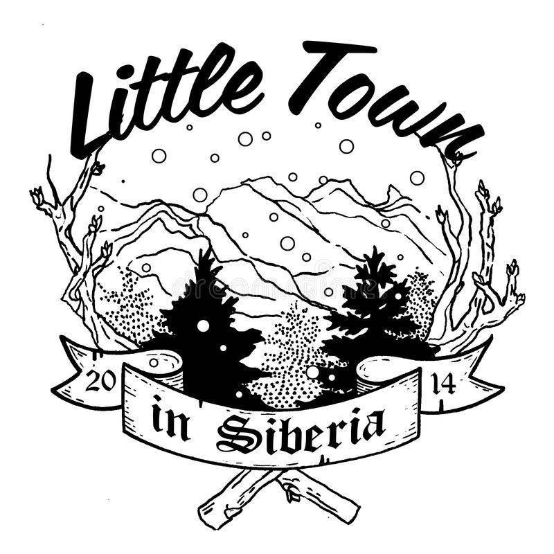 Little town is Siberia 1. The house is where your heart is. Sketch of a tattoo for those whose life is a mountain. Made in Siberia vector illustration
