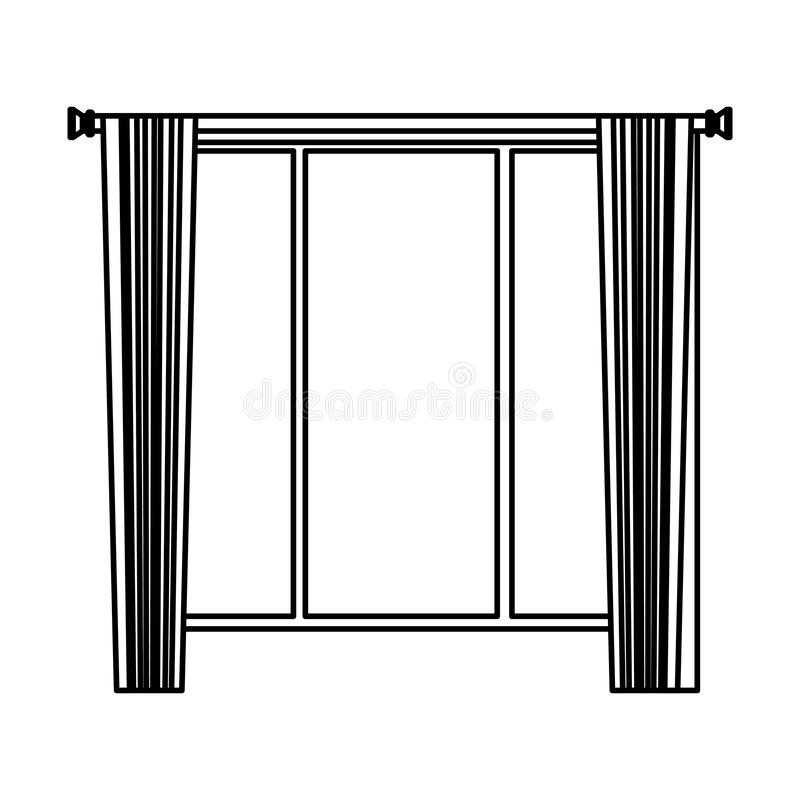 House window with curtains cartoon in black and white vector illustration
