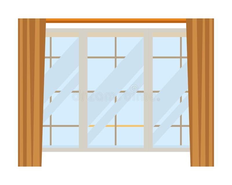 House window icon cartoon isolated stock illustration
