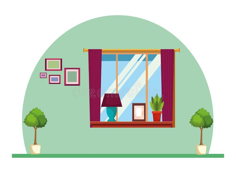 House window with light lamp picture and plant pot on shelf royalty free illustration