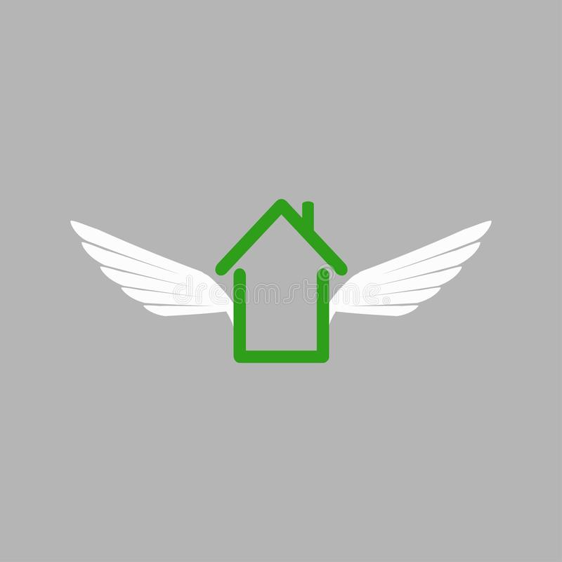 House of Wings in weightlessness vector illustration