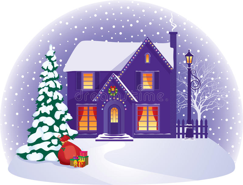 House in winter Christmas night stock illustration