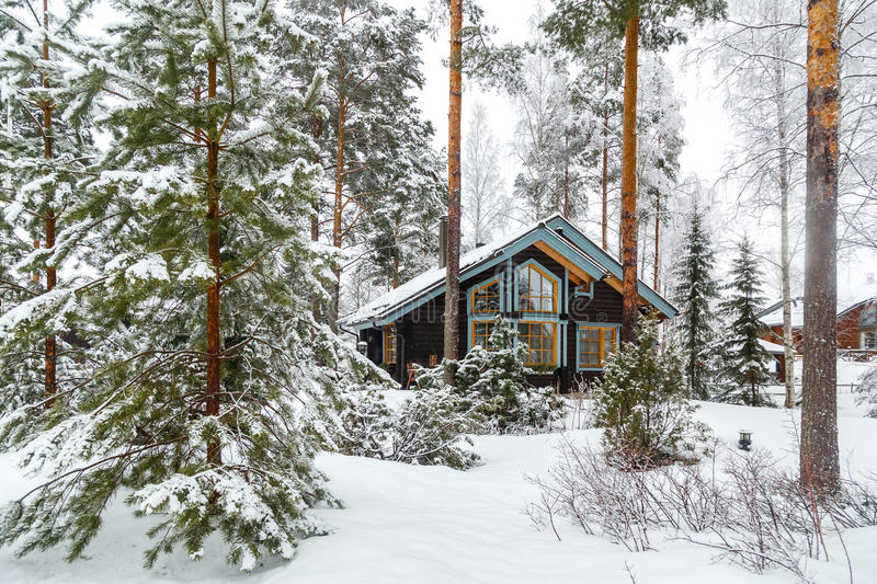 House in the winter forest stock photography