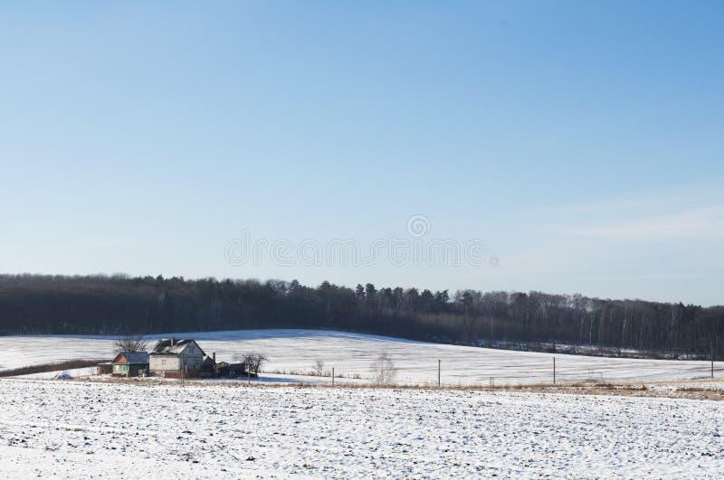 House on Winter Landscape royalty free stock photo