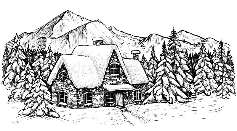 House in the winter mountines, covered with snow and surrounded by fir forest. Vector Christmas idyllic landscape. royalty free illustration
