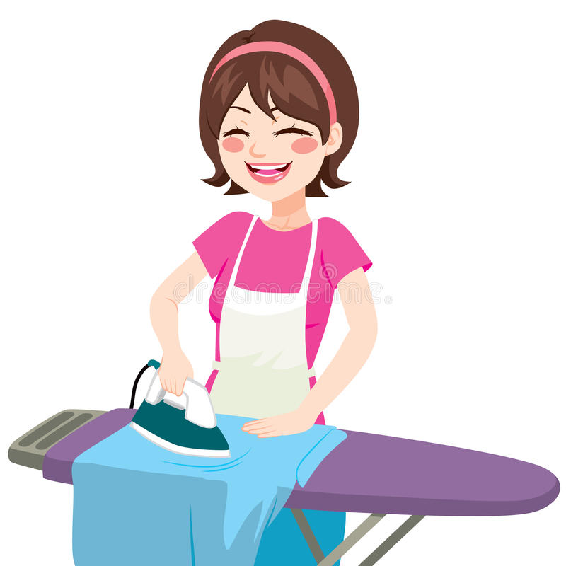 Cartoon Clothes Iron ~ House woman ironing stock vector image