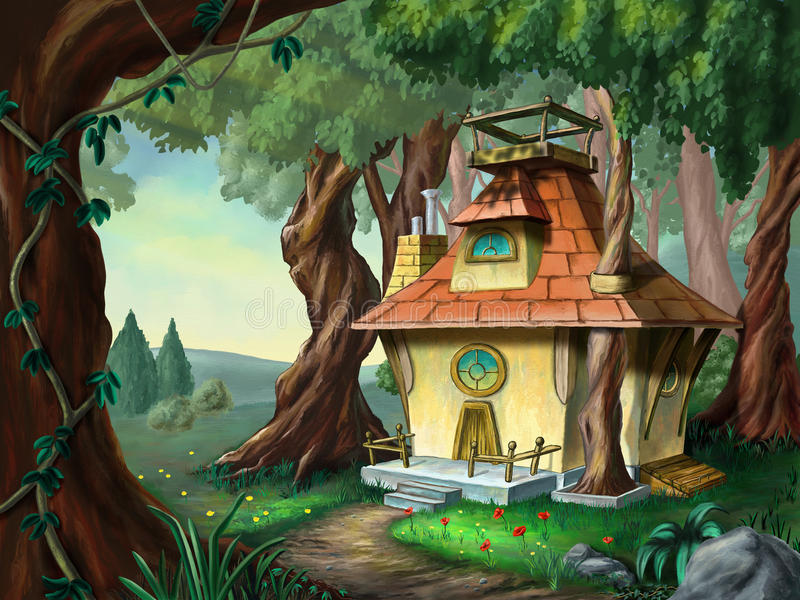 House in the wood. Fantasy house in a wood. Digital illustration royalty free illustration
