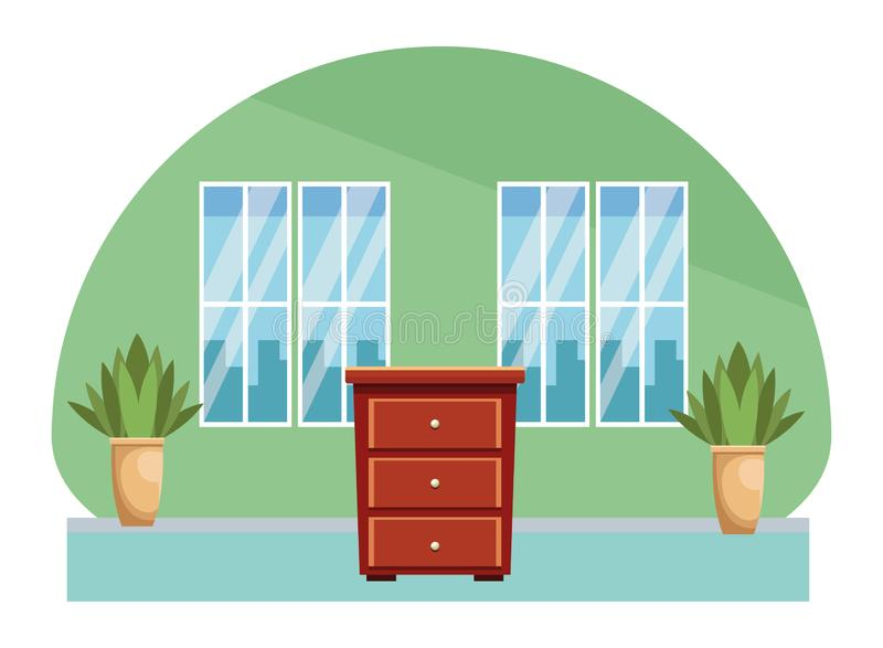 House wooden drawer furniture cartoon. Home scenery vector illustration graphic design vector illustration