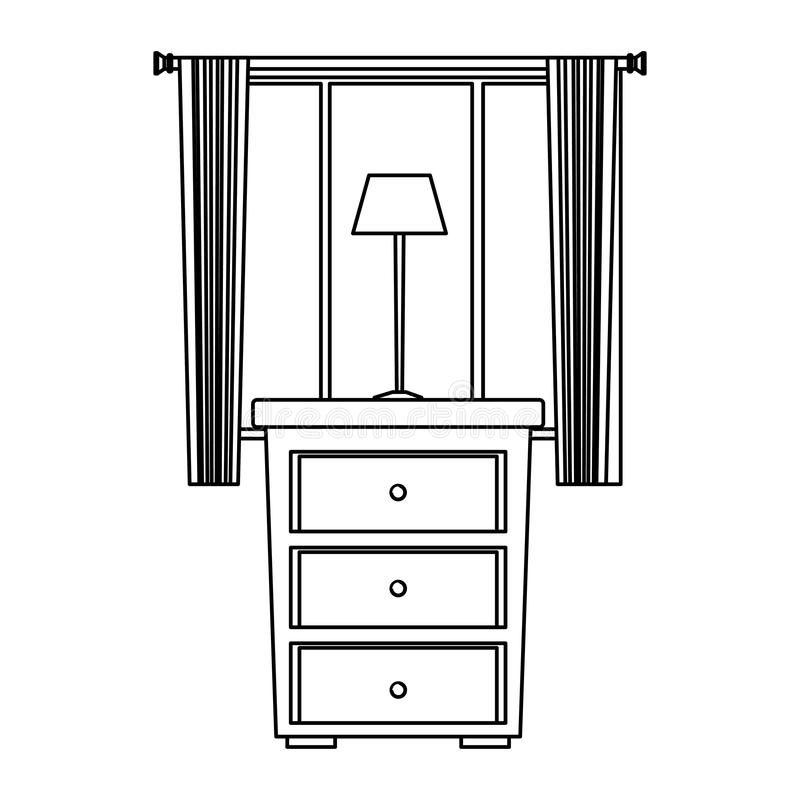 House wooden drawer with light lamp and window in black and white vector illustration