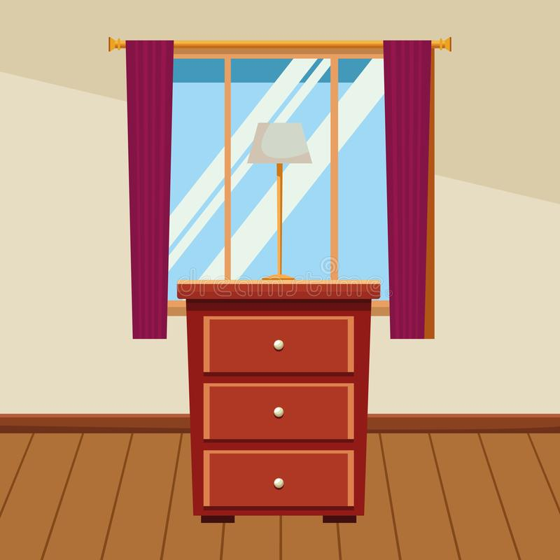 House wooden drawer with light lamp and window stock illustration