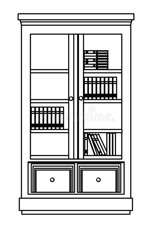 House wooden library with window doors in black and white vector illustration