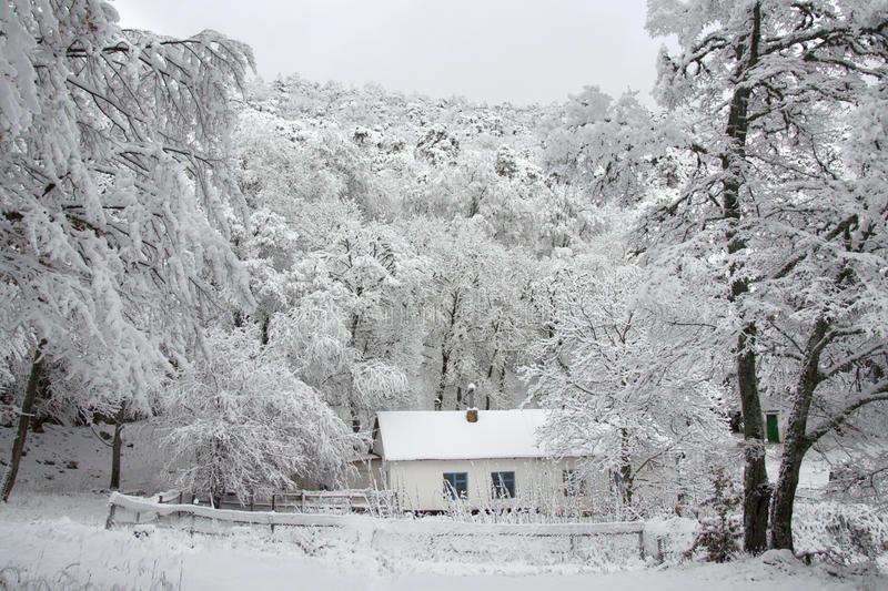 House in the woods. Little old cottage in remote forests - winter landscape royalty free stock images
