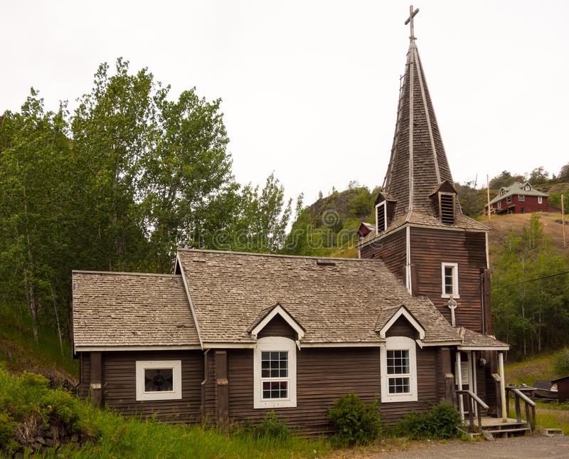 An historic old church at telegraph creek. A house of worship as seen in a remote location in northern canada stock image