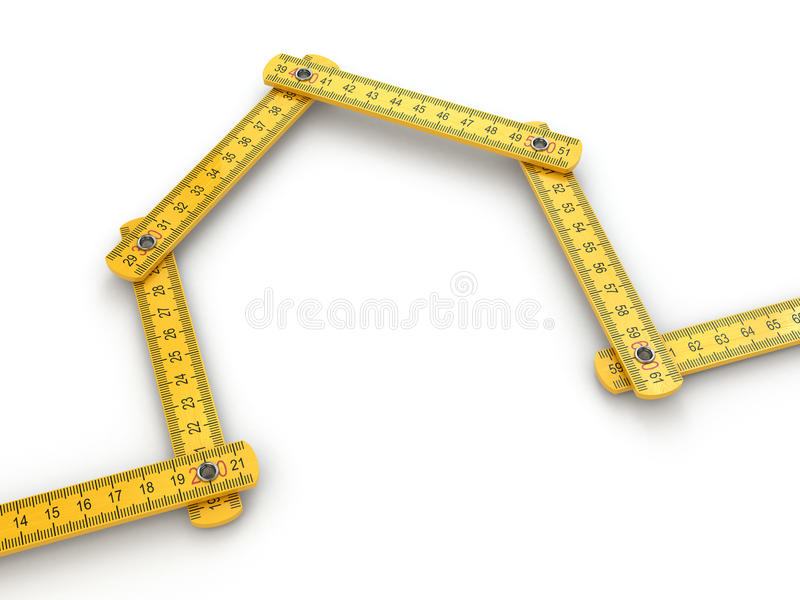 House From Yard Stick On White Background Stock Image