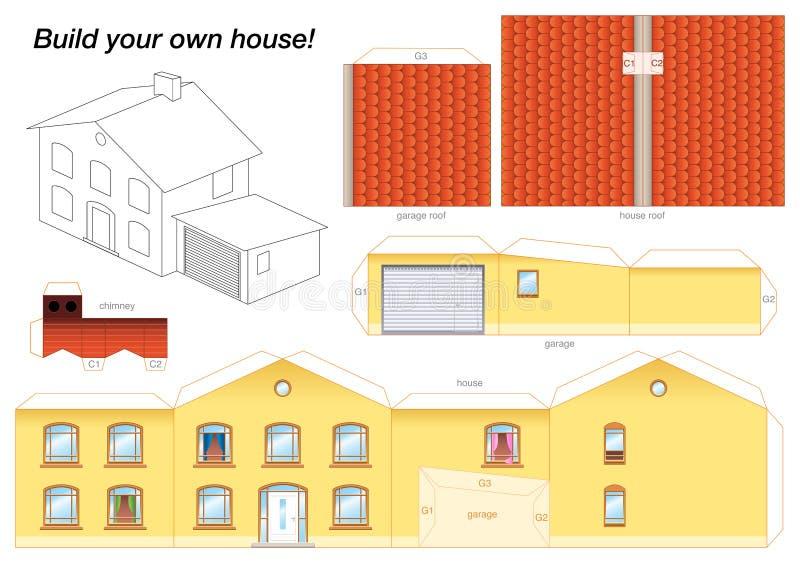 House Yellow modelo de papel ilustração stock