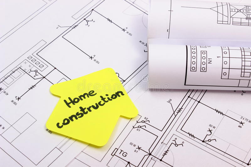 download house of yellow paper with text home construction on diagram of house stock photo - Home Construction Diagram