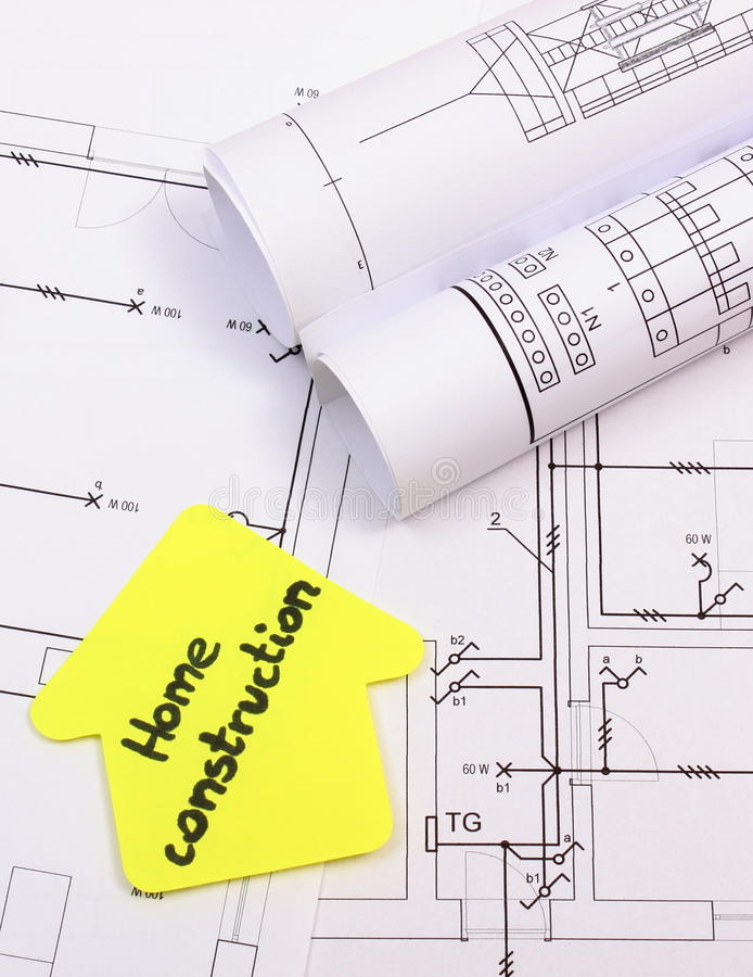 download house of yellow paper with text home construction on diagram of house stock image - Home Construction Diagram
