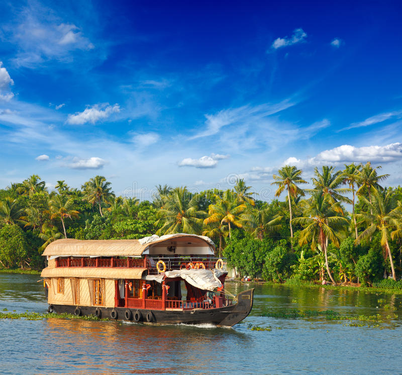houseboat Ινδία Κεράλα τελμάτων στοκ φωτογραφία με δικαίωμα ελεύθερης χρήσης