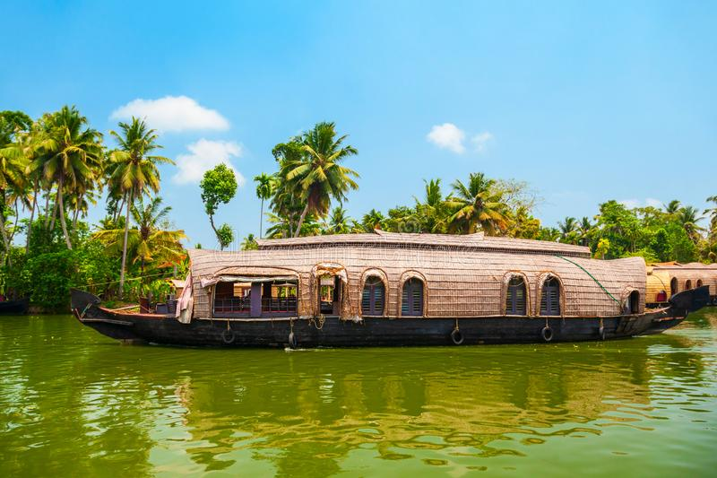 Houseboat in Alappuzha backwaters, Kerala. A houseboat sailing in Alappuzha backwaters in Kerala state in India royalty free stock photography