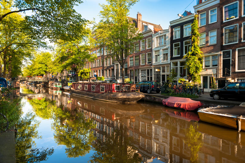 Houseboat on Amsterdam Canal royalty free stock photos